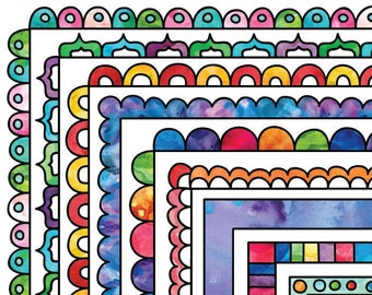 Watercolor Frame Clip Art Commercial Use Instant Download Clipart Rainbow Borders