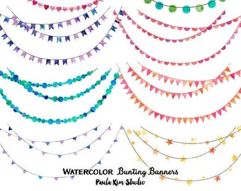 Watercolor Bunting Clip Art for Commercial Use, Instant Digital Download, Watercolor clipart