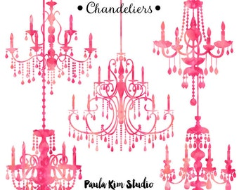 Pink Watercolor Chandelier Silhouette Clipart Clip Art Wedding Invitation Commercial Use