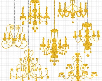 Gold Glitter Clipart Chandelier Silhouette Digital Collection Commercial Use Wedding Invitation Clip Art