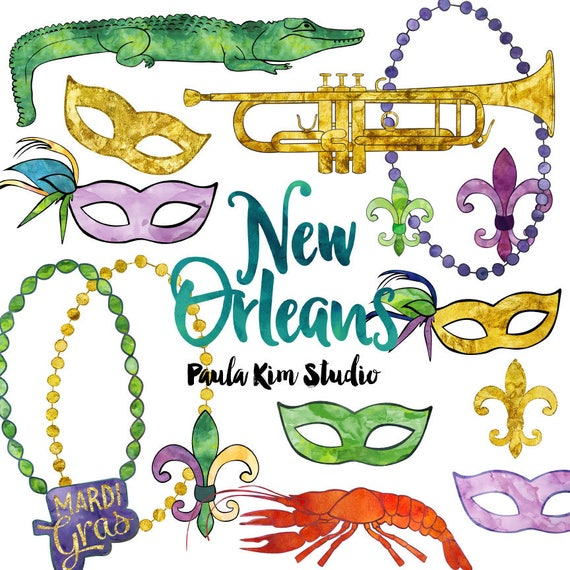 new orleans watercolor mardi gras clip art commercial use rh etsy com new orleans clipart border new orleans clip art free