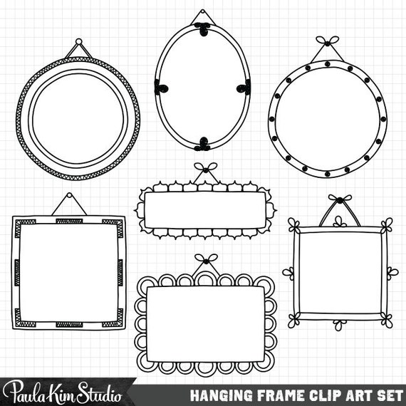 Frame Clipart Hand Drawn Clip Art Frames Commercial Use | Etsy