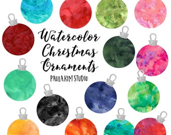 Watercolor Clip Art Christmas Ornaments, Commercial Use Clip Art Instant Download