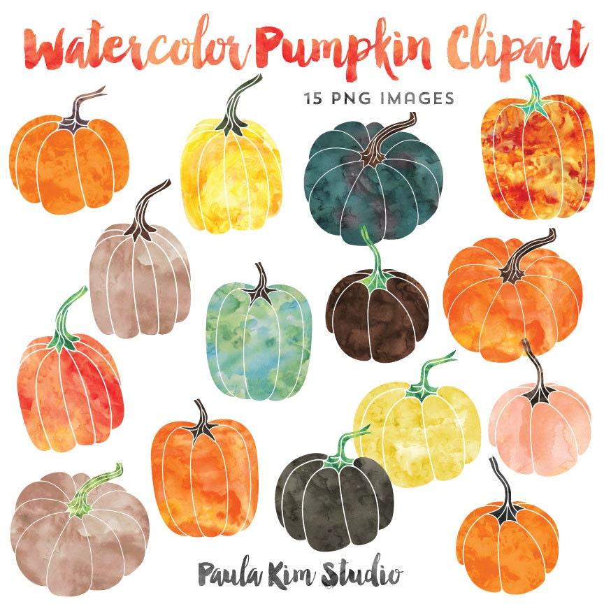 Watercolor Graphics Pumpkin Clipart Fall Clip Art Instant ...