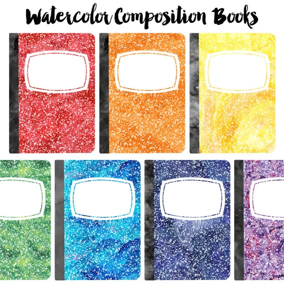 Watercolor Composition Book Clip Art Set School Supplies