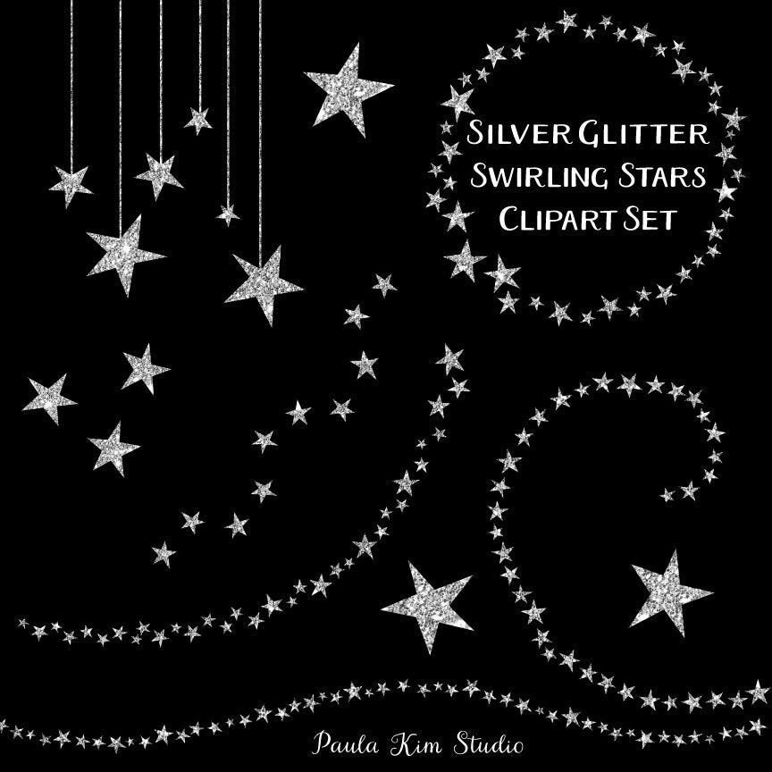 Silver Glitter Swirling Star Clip Art Commercial Use Instant Digital Download