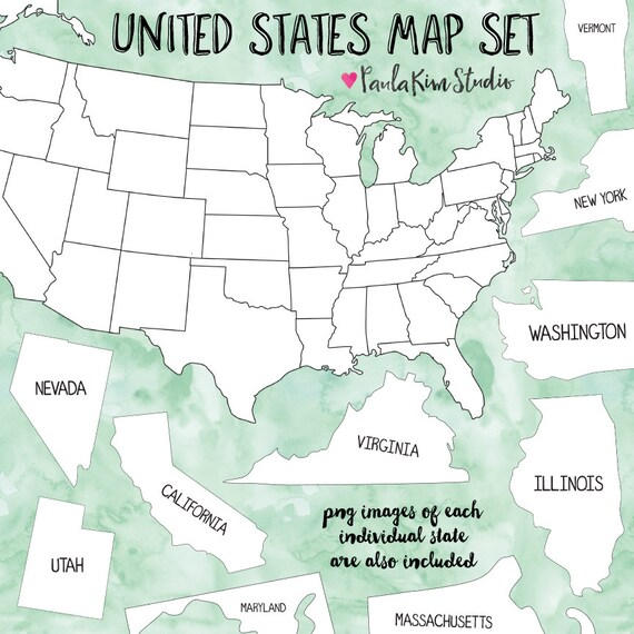 United States Map Clipart Teacher Clip Art Map Clipart   Etsy