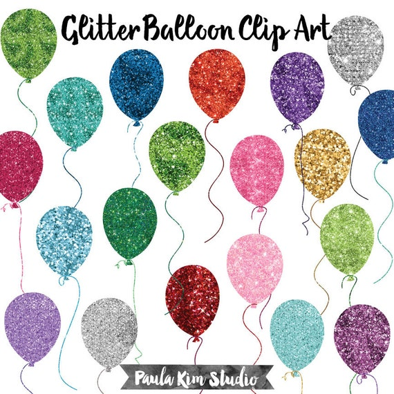 birthday clipart balloon glitter clip art birthday balloon etsy