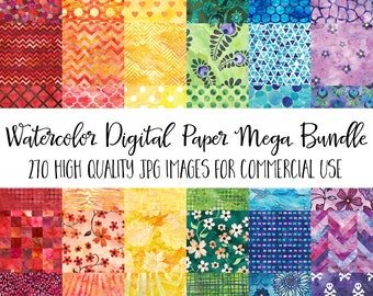 Watercolor Clip Art Digital Paper - Commercial Use Instant Download - Geometric Floral Abstract Backgrounds Digital Paper Bundle Value Pack