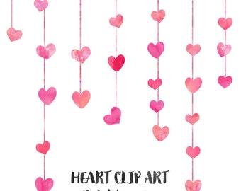 Pink Watercolor Heart Clip Art, Wedding Clip Art, Commercial Use Clipart