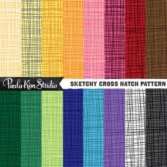 Sketchy Cross Hatch Pattern Digital Paper Bright Clip Art Etsy Classy Cross Hatch Pattern
