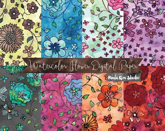 Watercolor Digital Paper Pack, Floral Digital Scrapbook Papers, Instant Download, Commercial Use