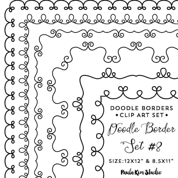 Doodle Frame Clipart, Frames Clip Art Instant Digital Download ...