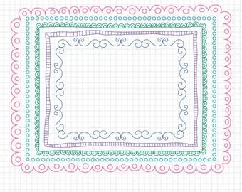 """Doodled Border - 8.5x11"""" Frames for Worksheets - Educational Borders and Frames"""
