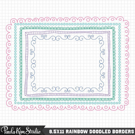 Doodled Border 85x11 Frames For Worksheets Etsy