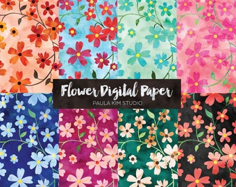 Pretty Watercolor Floral Digital Paper Pack, Flower Backgrounds, Instant Download Commercial Use Images