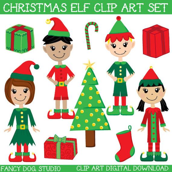 Christmas Elves Clipart Free.Santa S Little Helper Elf Clipart Digital Downloadable Images Royalty Free Clip Art