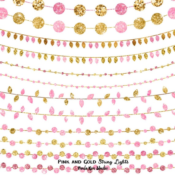 pink and gold party invitation clipart glitter string lights etsy