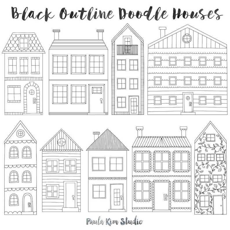 Townhouse Clip Art Black Outline House Clipart Handmade Etsy