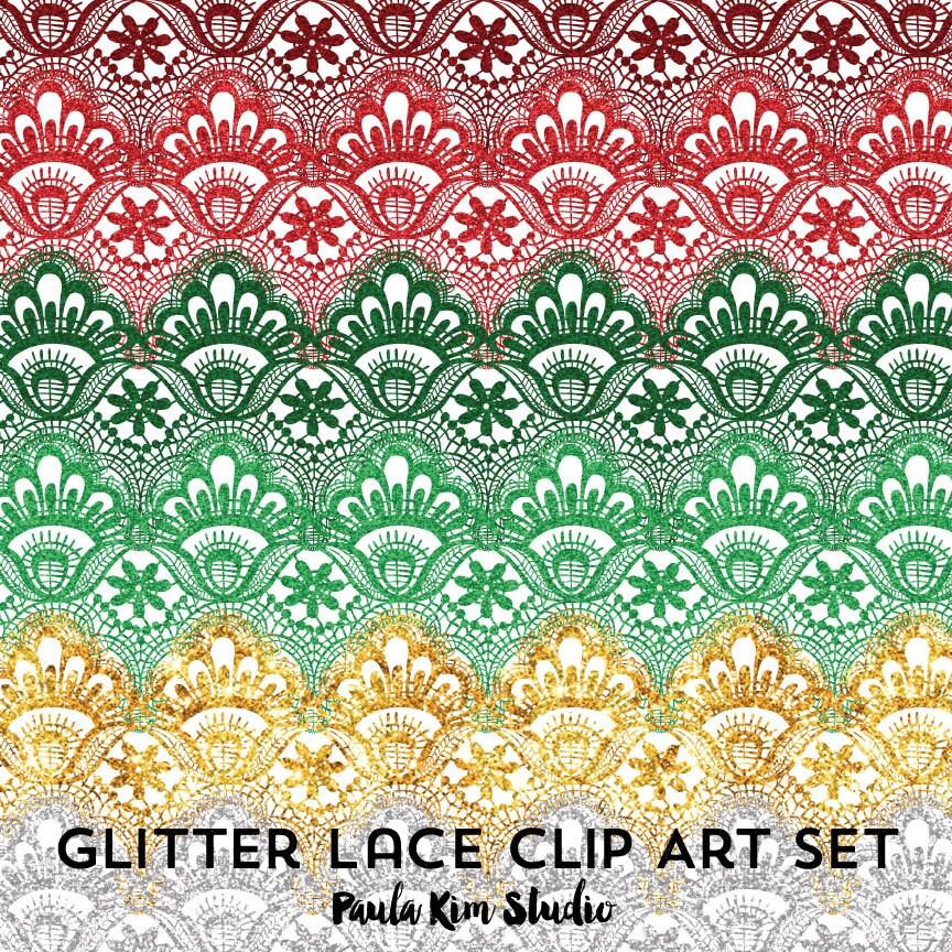 ClipArt Digital Spitze Glitter Grenzen Clip Art Weihnachten | Etsy