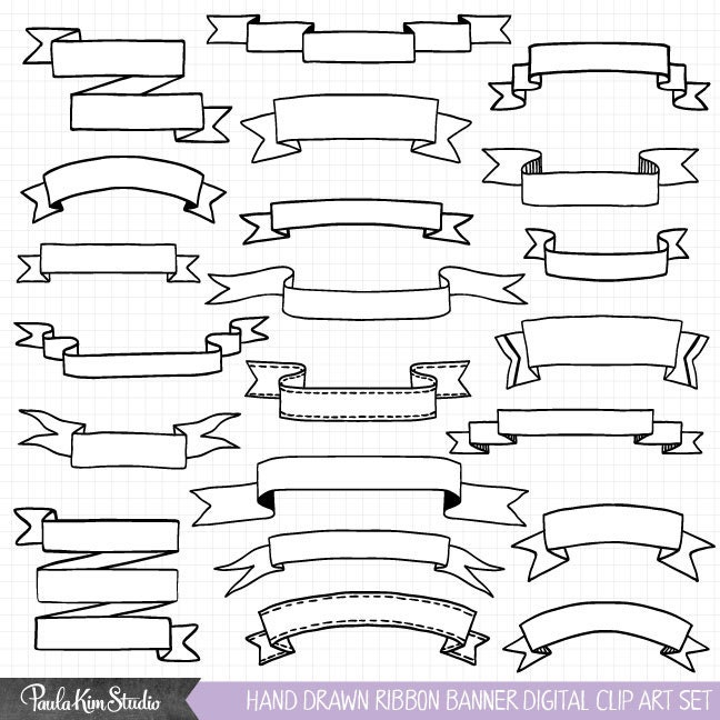 hand drawn clipart ribbon banner clip art commercial use etsy rh etsy com free clipart banner ribbon ribbon banner clipart vector