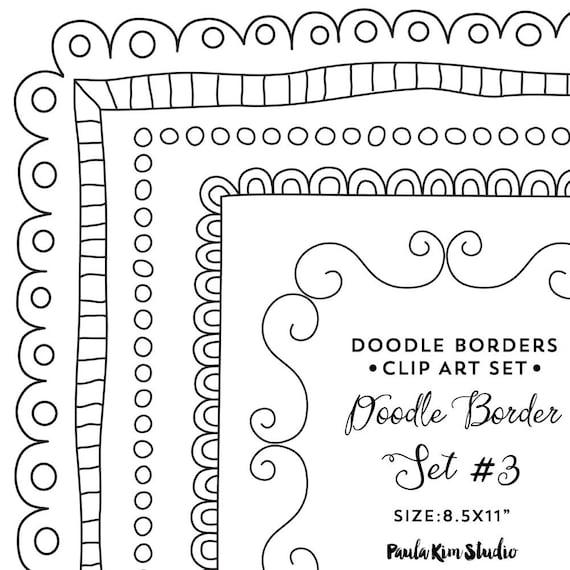 Doodle Border Clipart 8.5x11 Frame Clip Art Instant   Etsy