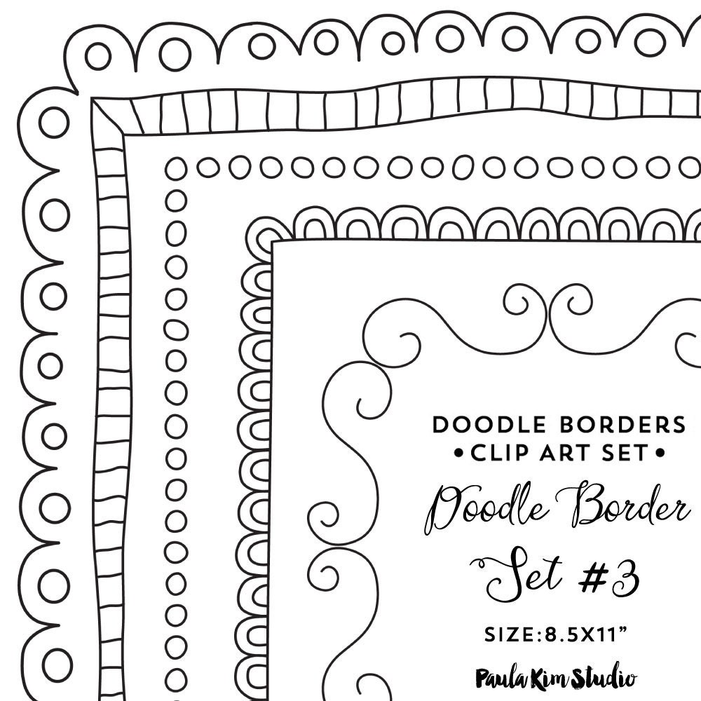 Doodle Border Clipart 8.5x11 Frame Clip Art Instant