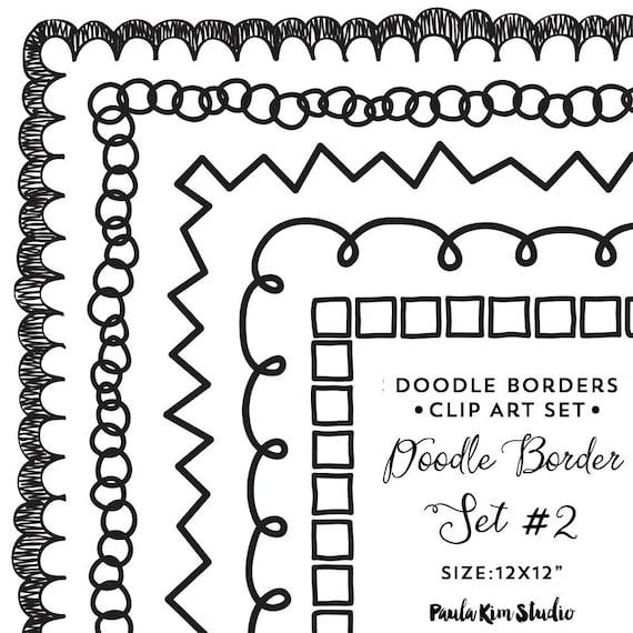doodle border digital frames clip art square frames clipart etsy