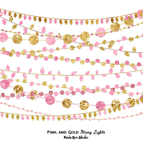 Peach Gold Instant Download Commercial Use Glitter String Lights Clip Art Peach and Gold Party Invitation Clipart