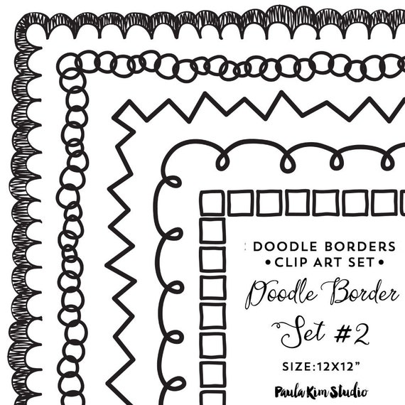 doodle clipart border clip art downloadable images frame etsy