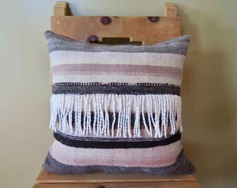 blush and grey stripes with fringe detail
