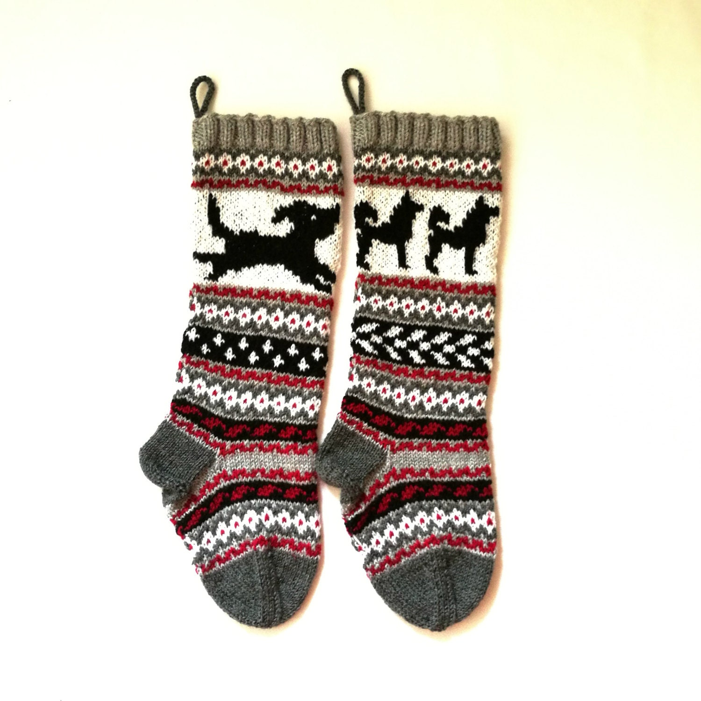 Pattern Dog Christmas Stockings Stranded Knit Dog Santa Sock Etsy