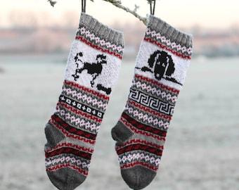 Pattern Dog Christmas Stockings, Poodle Knit, Santa Sock for Dog, FairIsle Dog, Knitting pattern Dog, Poodle Christmas Stocking, PDF pattern