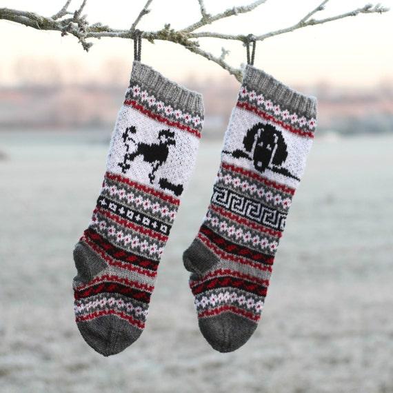 Pattern Dog Christmas Stockings Poodle Knit Santa Sock For Etsy