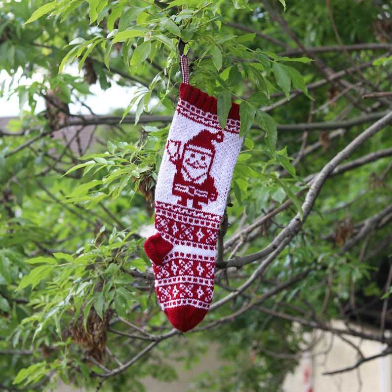Santa Stocking Personalized Stocking Red Christmas Stocking Knit Christmas Stocking Fair Isle Stocking Knit Holiday Stocking Rwla