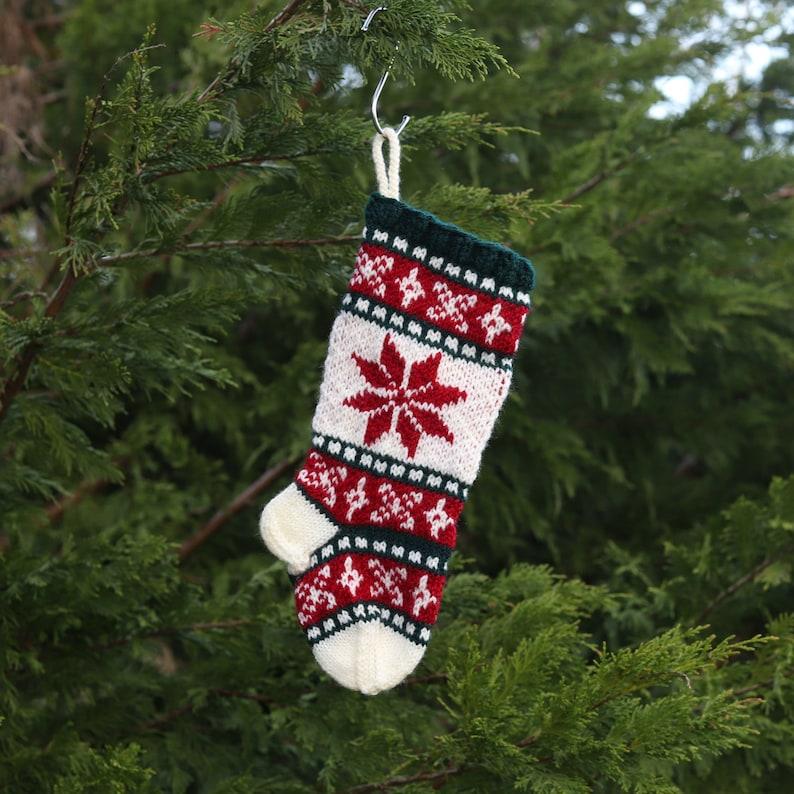 Small Santa Sock FairIsle Christmas Stocking Knit Christmas stocking Knit Christmas poinsettia Holiday sock poinsettia SWRGR