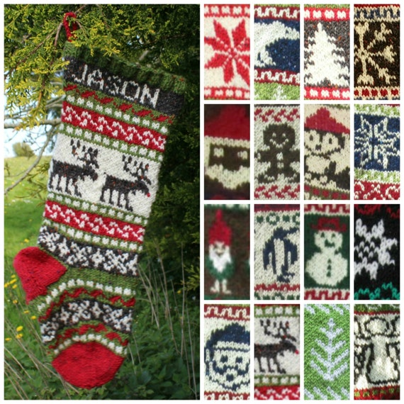 Knitting Pattern Collection Of 16 Christmas Stockings Charts Etsy