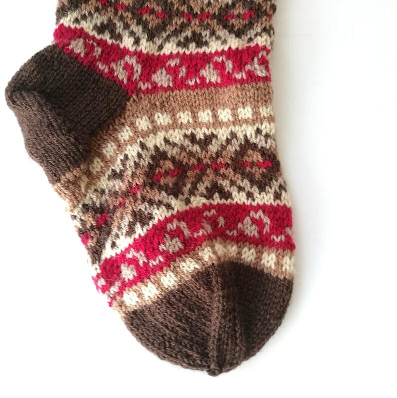 Fair isle stocking Knit Christmas Stocking Brown Christmas Stocking Knit Holiday Stocking Reindeer Santa Sock Knit Reindeer Sock BBBR