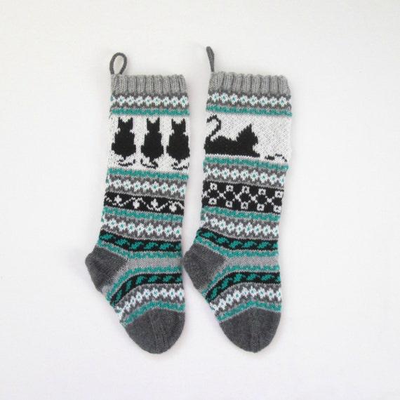 Cat Christmas Stockings.Pattern Cat Christmas Stockings Knit Cat Pattern Cat Santa Sock Fairisle Cat Knitting Pattern Cat Knit Pattern Cat Pdf Pattern