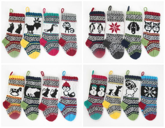 16 Knitting Patterns For Small Christmas Stockings With Fair Etsy