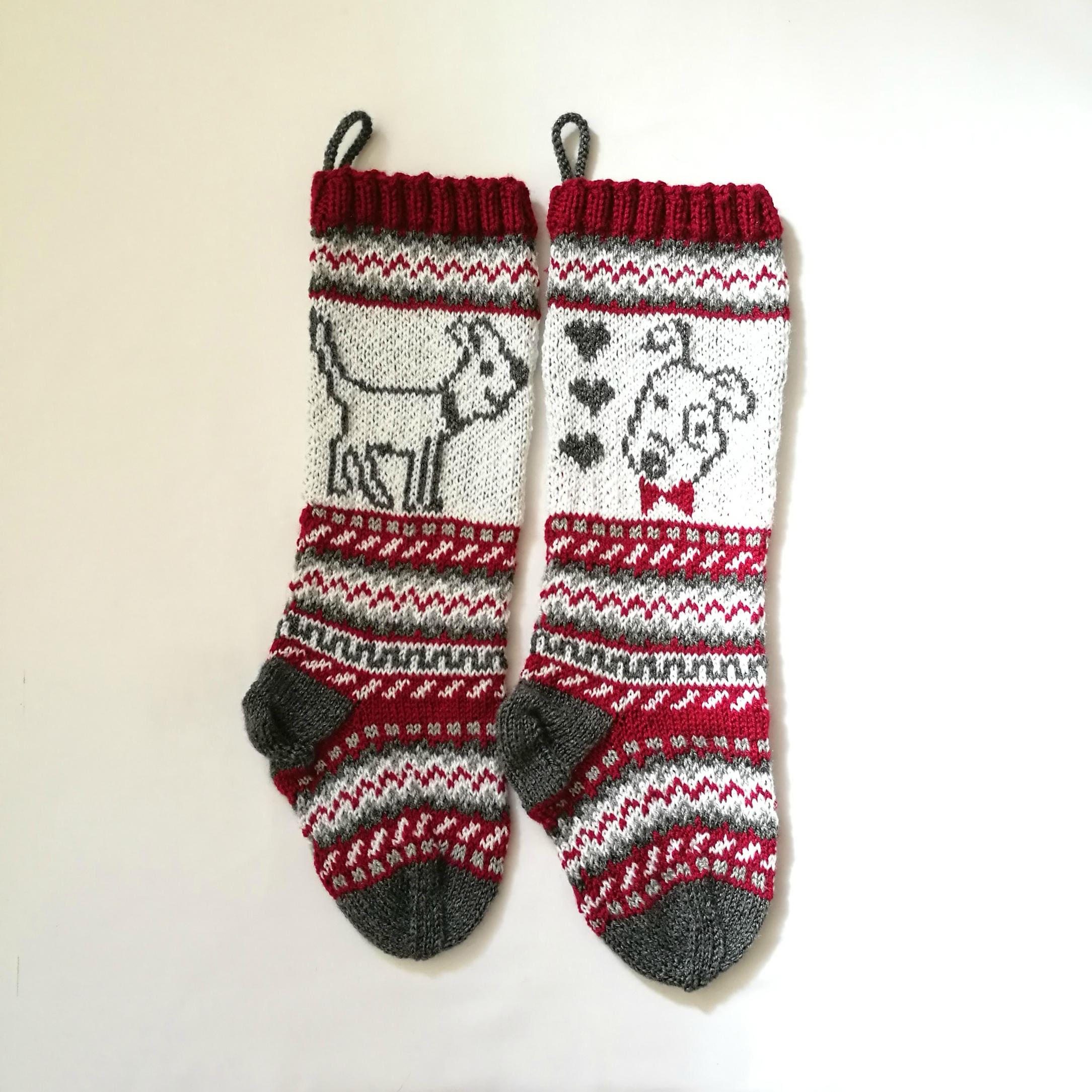Pattern Dog Christmas Stockings Stranded knit dog Santa Sock | Etsy