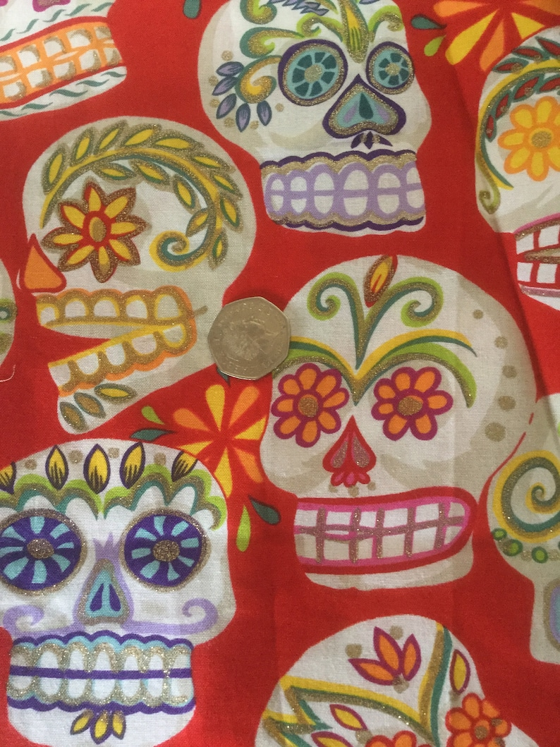 Fabric Cut off Remnant Alexander Henry Day of the Dead Red Glitter