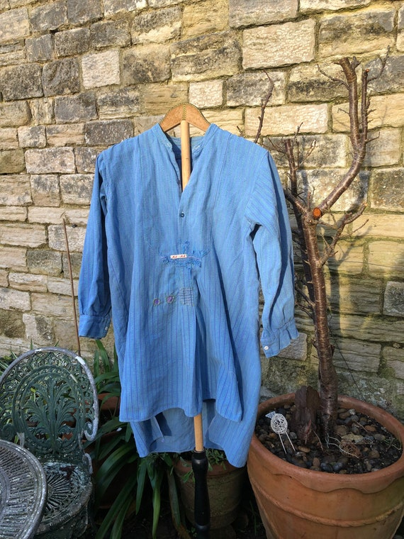 Antique French long tailed farmers shirt