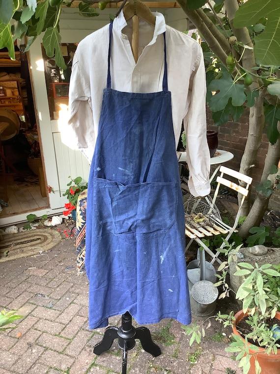 Antique French artisan indigo apron