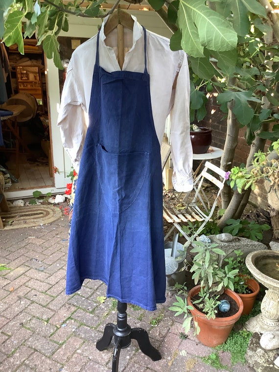 Antique French artisan indigo apron