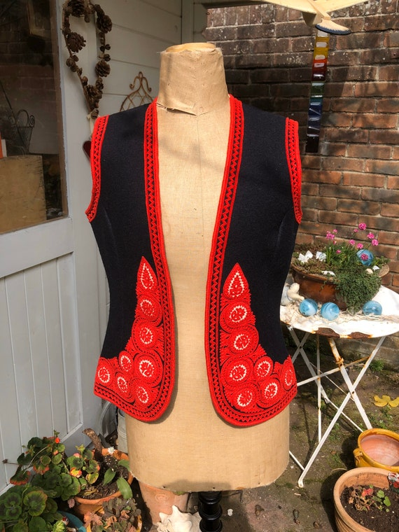 Hungarian wool embroidered waistcoat