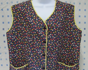 Vintage Cleaning Kitchen Smock Button Front Hand Sewn Navy Blue Red Yellow Floral Print Cotton Blend Sz Large