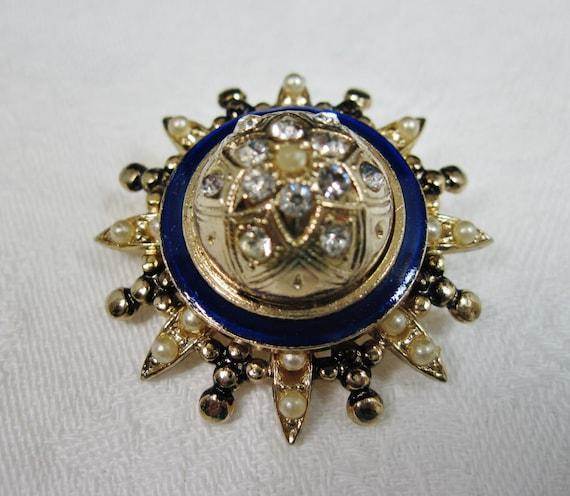 Vintage Rhinestone Starburst Brooch Gold tone AH11 Small