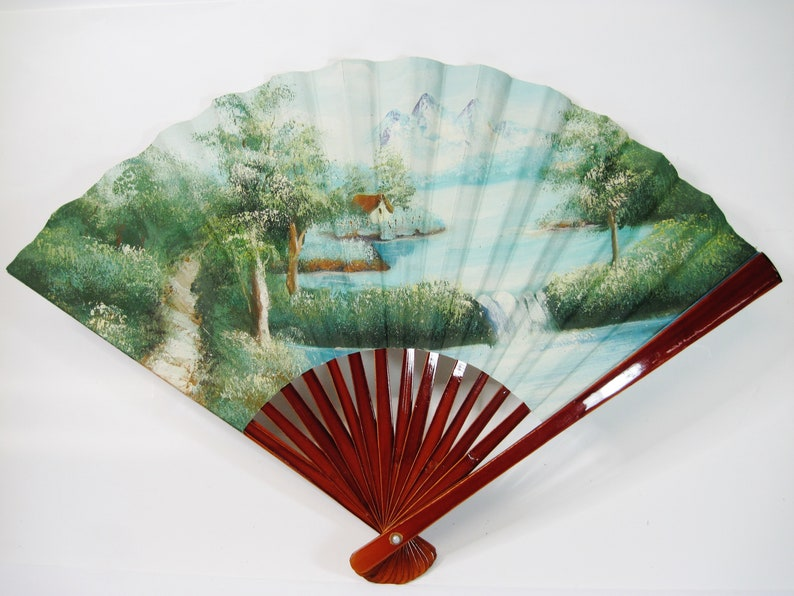 Hand Painted Mountain Waterfall Forest Scene Vintage Chinese Asian Decorative Folding Hand Fan Wood Lacquered Handle