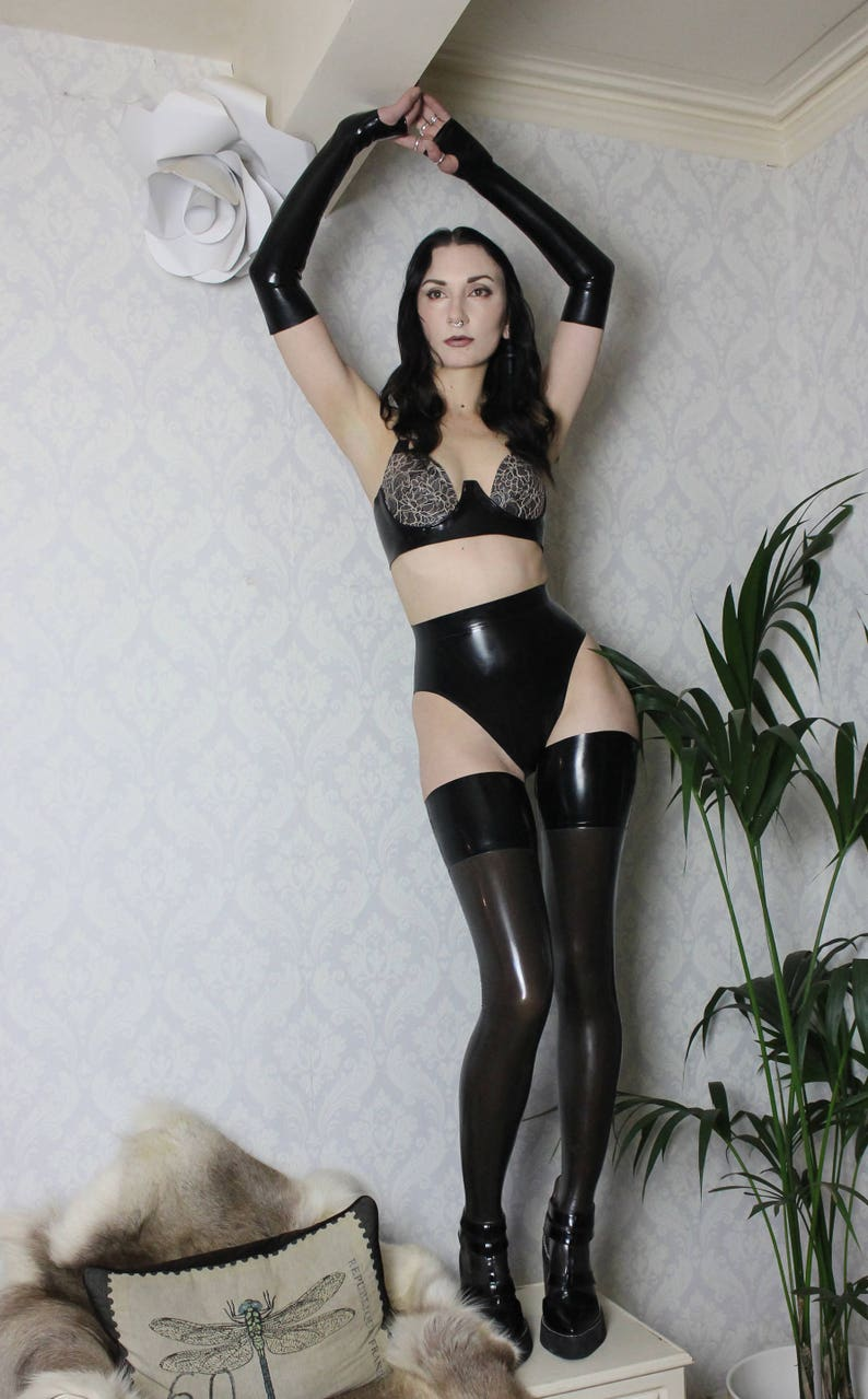 a3fceb61be2 Latex lingerie set latex-lace cup bra fingerless gloves